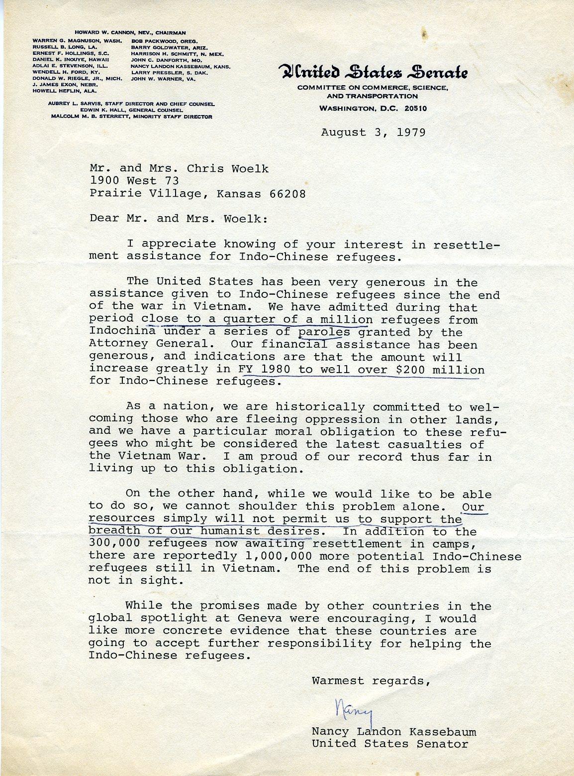 Letter from Senator